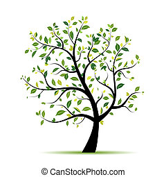 春, デザイン, 木, 緑, あなたの
