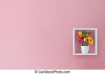 春, デザイン, 花, 最小である, 背景