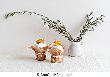 春, バックグラウンド。, flowers., ケーキ, 休日, イースター
