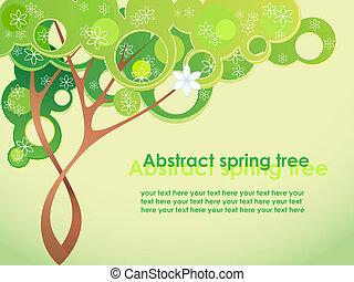 春, 抽象的, 花, 木