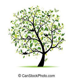 春, 木, あなたの, 緑, デザイン, 鳥