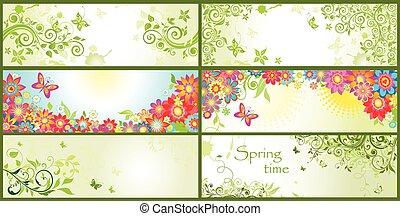春, 水平なバナー