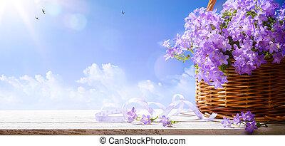 春, 空, 背景, イースター, 花, 芸術, 青