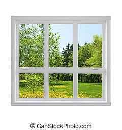 春, 窓, によって, 風景, 見られた