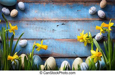 春, 背景, イースター, 花, 芸術, 卵