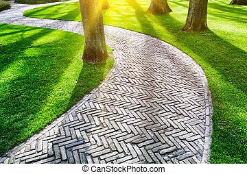 春, 舗装された, 公園, 小道