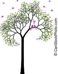 春, 鳥, ベクトル, 愛, 木