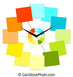 時計, テキスト, 創造的, デザイン, ステッカー, あなたの