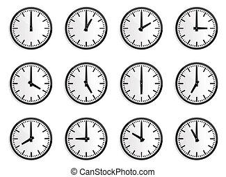 時計, 壁, 地域, ベクトル, 時間, 世界