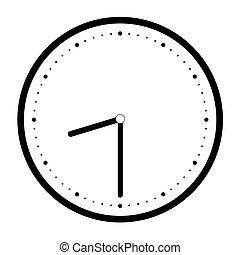 時間, 時計, 単純である, イラスト, 顔, 手, ベクトル, 黒, 白, 分