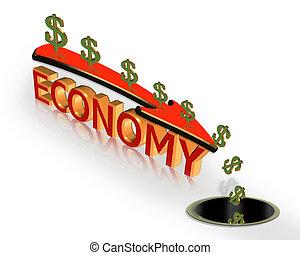 景気後退, グラフィック, 経済, 危機, 3d