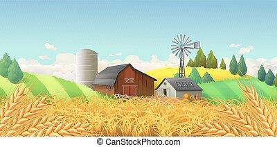 景色。, ベクトル, 小麦, 背景, 農場, field.