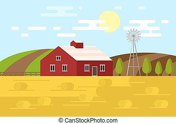 景色。, ベクトル, 田園, イラスト, farm.