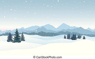 景色。, 冬, 雪, 積雪量, バックグラウンド。, 陽気, skyline., クリスマス