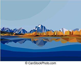 景色。, 多角形, 山湖, イラスト, 風景