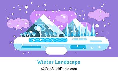景色。, 屋外, 冬, cave., 自然, 凍らせられた, 抽象的, 雲, 木, 氷, 雪, デザイン, 湖, elements., 川, サイン, ∥あるいは∥, 山