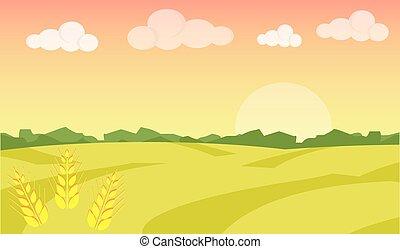 景色。, 成長しなさい, 小麦, illustration., 熟した, agriculture., 農場, イラスト, フィールド, 風景, ベクトル, バックグラウンド。, 日の出