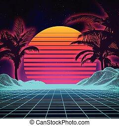 景色。, 風景, 未来派, サイエンスフィクション, デジタルバックグラウンド, style., 80s, レトロ, cyber, surface., 1980s, 夏, ファッション, パーティー