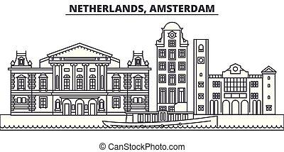 景色。, illustration., アムステルダム, ランドマーク, 都市の景観, ベクトル, 光景, 有名, netherlands, 線, スカイライン, 都市, 線である