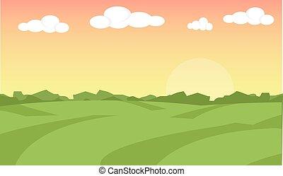 景色。, illustration., フィールド, 農場, イラスト, バックグラウンド。, ベクトル, 風景, 日の出