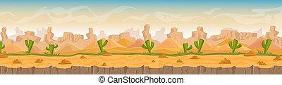 暑い, パノラマ, 砂, 風景, 砂漠, 背景, ベクトル, 漫画, 石, イラスト