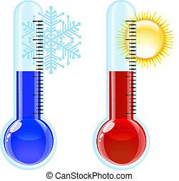 暑い, 寒い, icon., 温度計