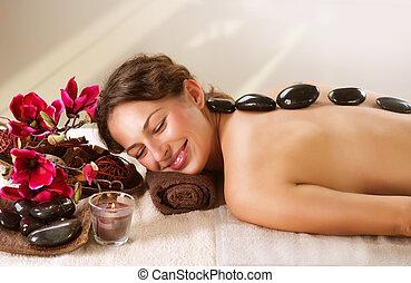 暑い, spa., 石, dayspa, massage.