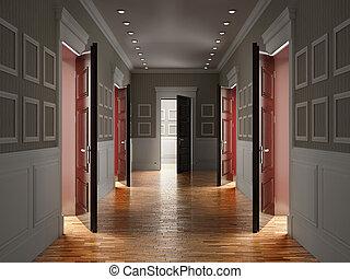 暗い内部, corridor., イラスト, 3d