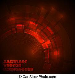 暗い, テクニカル, 抽象的, 赤い背景