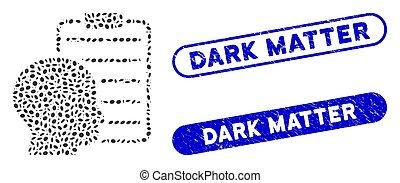 暗い, レポート, コラージュ, オバール, 問題, ユーザー, ページ, シール, 苦脳