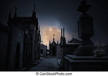 暗い, 墓地