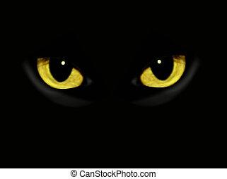 暗い, 夜, ねこ, 目