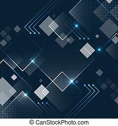 暗い, 未来派, きらめき, ベクトル, 広場, 背景, grid., 抽象的, 技術, 青