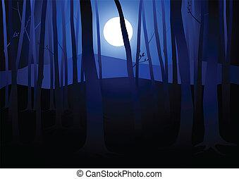 暗い, 森, 満月