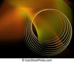 暗い, circles., 緑の背景, 技術的である, オレンジ