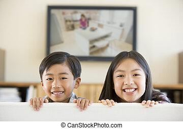 暮らし, テレビ, 部屋, 平らなスクリーン, 2, 若い, 微笑, 子供