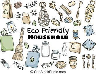 暮らし, zero-waste, eco, 世帯, items., コレクション, 生態学的, 緑, 行きなさい, 味方, set.