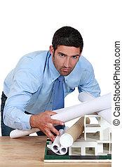 曲がること, 青写真, 上に, 若い, 建築家, 机, モデル