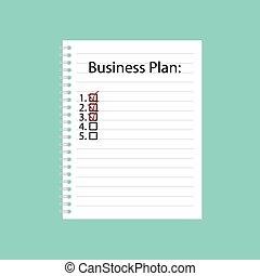 書かれた, ノート, らせん状に動きなさい, ビジネス計画