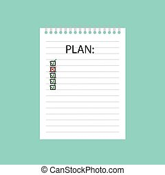 書かれた, ノート, らせん状に動きなさい, 計画