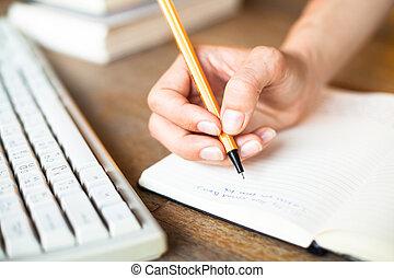 書く, キーボード, バックグラウンド。, ペンコンピュータ, ノート, 手