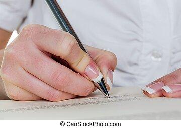 書く, 契約, 手, ペン, 噴水, 下に