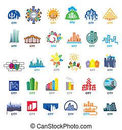 最も大きい, ロゴ, 都市, ベクトル, コレクション