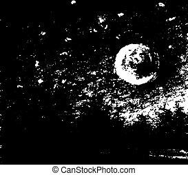 月光, illustration., 図画, 手, 黒, night.