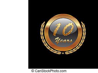 月桂樹, 金, 花輪, 10years
