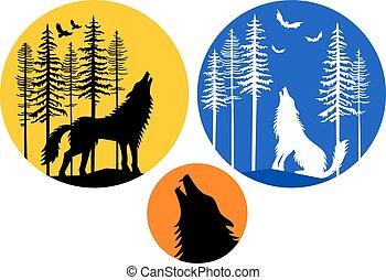 月, わめく, セット, 狼, ベクトル
