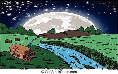 月, 農場, 夜, 穀物, 光景