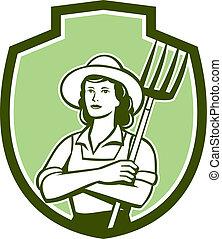 有機体である, 保護, 干し草用フォーク, レトロ, 女性, 農夫