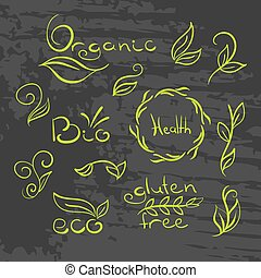 有機体である, 自然, set., エコロジー, bio, logotypes