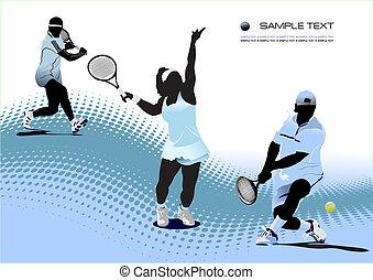 有色人種, テニス, player., イラスト, ベクトル, デザイナー